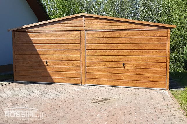 Garaż blaszany drewnopodobny PRODUCENT garaże blaszaki MONTAŻ GRATIS