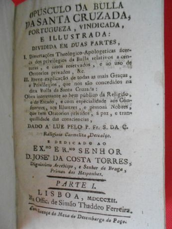 Livro de 1812 - Opusculo da Bulla da Santa Cruzada. Lisboa.