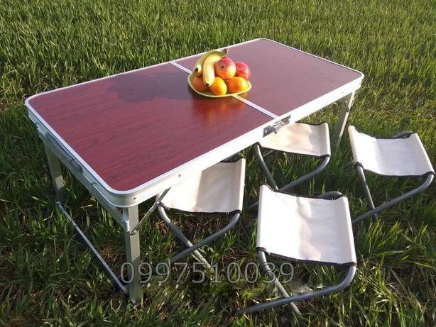 УСИЛЕННЫЙ удобный стол для пикника раскладной и 4 стула. Столик рыбалк