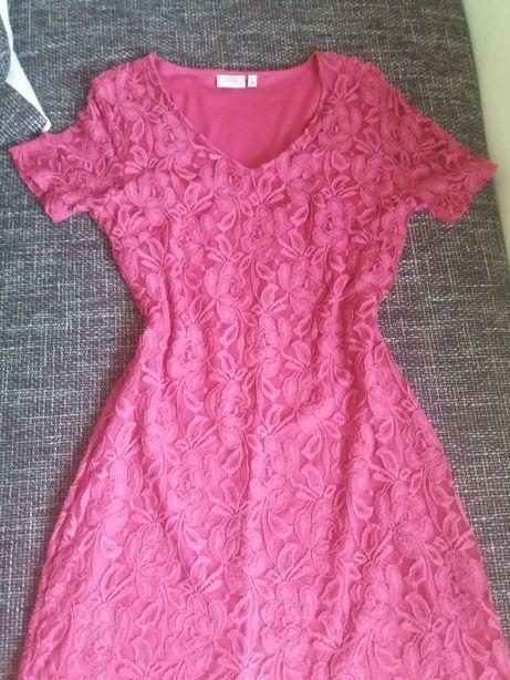 Sukienka S M koronka fuksja rozowa