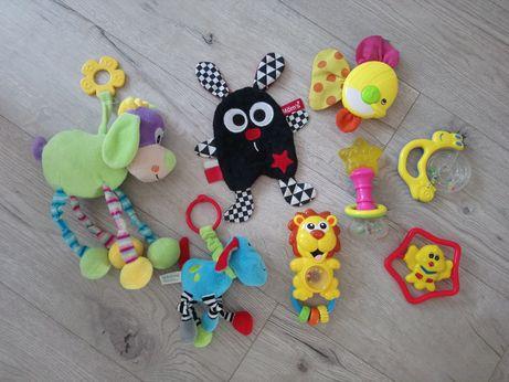 Zabawki niemowlece + mata + termometr do kąpieli