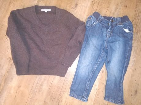 Spodnie jeansowe + sweter ej welniany