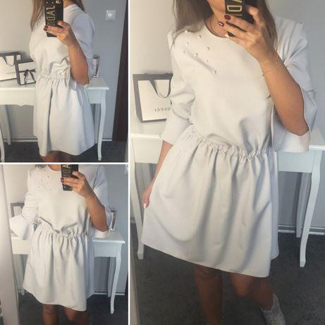 Sukienka falbanki marina moda  zara mohito Reserved komunia siwa