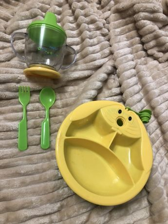 тарелка с подогревом набор тарелка поильник вилка ложка
