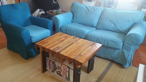 Sofa dwuusobowa i fotel IKEA EKTORP turkusowe