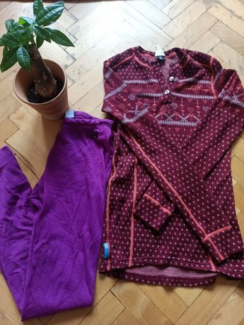 Bluzka termoaktywna Moods of Sweden 100%wool, getry Polarn O. Pyret