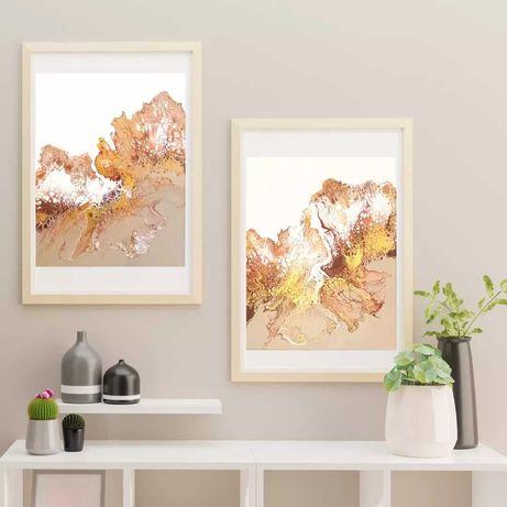 Komplet obrazów pouring złoto i biel