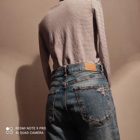 Zestaw jeansy boyfriendy i top H&M