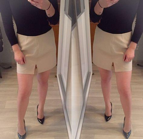 Beżowa spódniczka mini hennes L elegancka zip