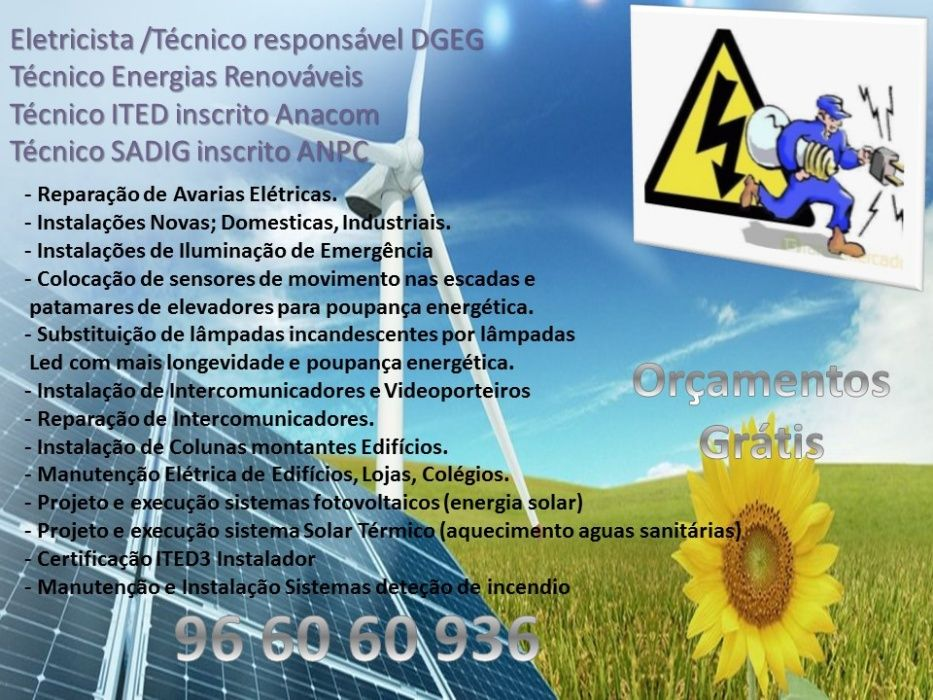 Electricista/ITED3/SADI/Projectos Medidas Auto Protecção Queluz E Belas - imagem 1