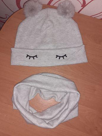 Шапка хомут зима флис шапка+хомут