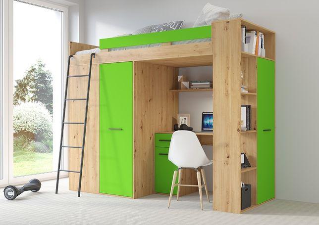 Antresola 2020 - 6 kolorów - łóżko piętrowe + biurko + garderoba
