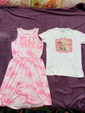 T-shirt i sukienka letnia dziewczęca r. 152