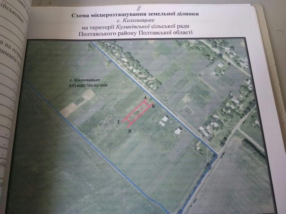Продам участок земли 21сотка, Коломацьке (Куликовка) 20 км. от Полтавы Куликово - изображение 1
