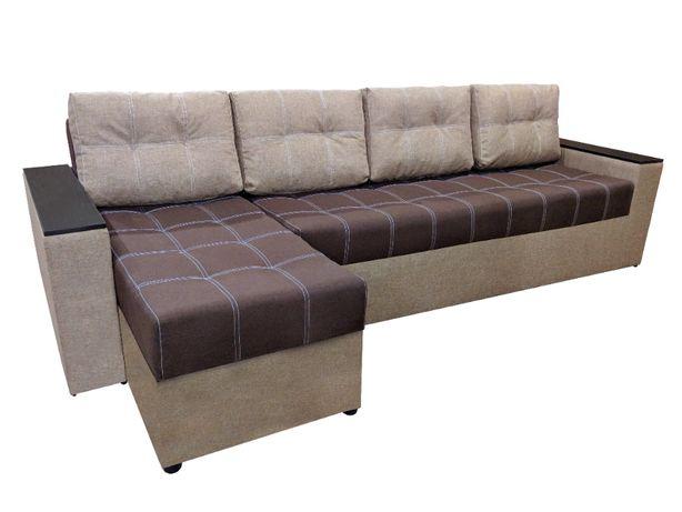 Угловой диван Хилтон 3м Коричневый с бежевым!