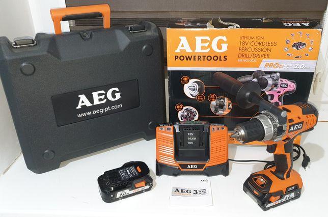Wiertarko wkrętarka udarowa AEG BSB 18CLI-202C 2 baterie walizka
