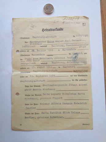 Oryginalny niemiecki dokument z 1939 roku.