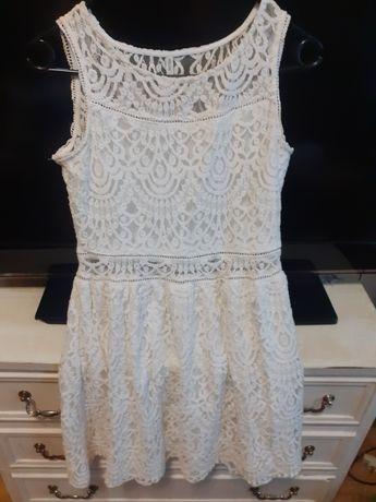 Sukienka z koronki S ecru