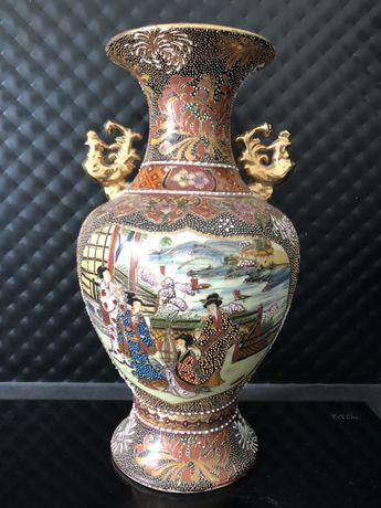 Wazon flakon chiński japoński wzór azja malowany pozłacany ceramika