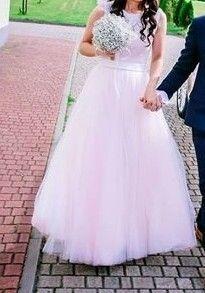 Suknia ślubna ecru-różowa