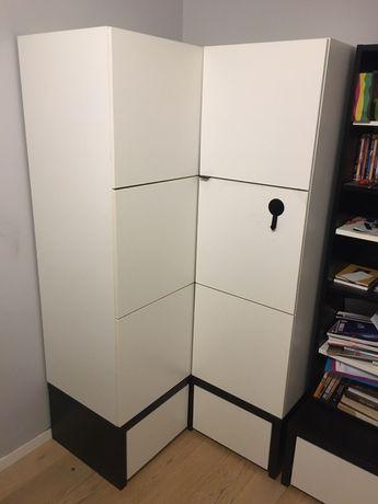 Szafa narożna biała z czarnym półki szuflady reling drążek Vox Young