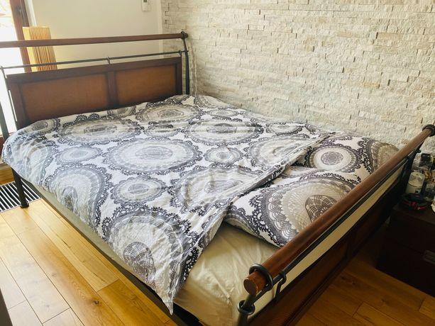 Łóżko 160x200 drewno metalowa rama