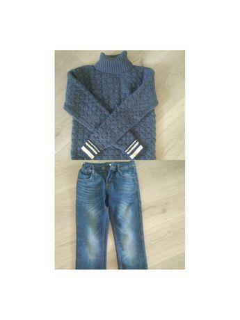 Идеальное состояние! Тёплые джинсы + новый свитер, р. 140-146