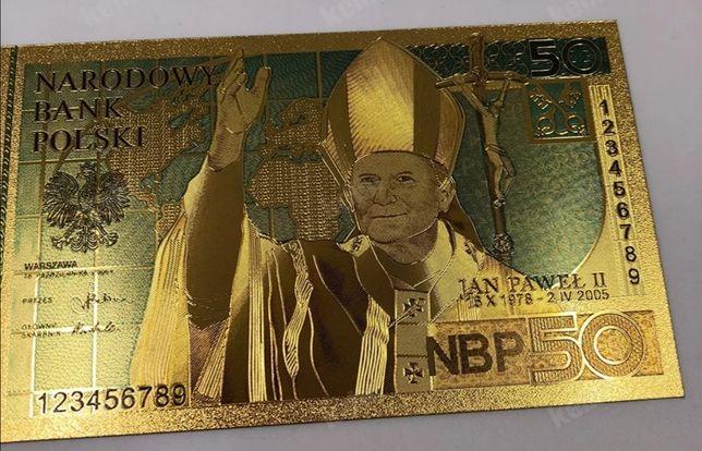 Banknot Jubileuszowy, prezent urodziny chrzest ślub.Pozłacany+gratis