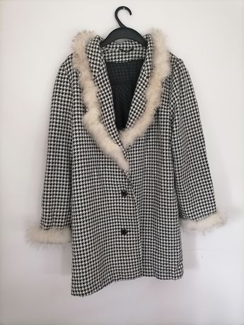 Wełniany płaszcz w pepitkę r. XL Vintage w kratkę