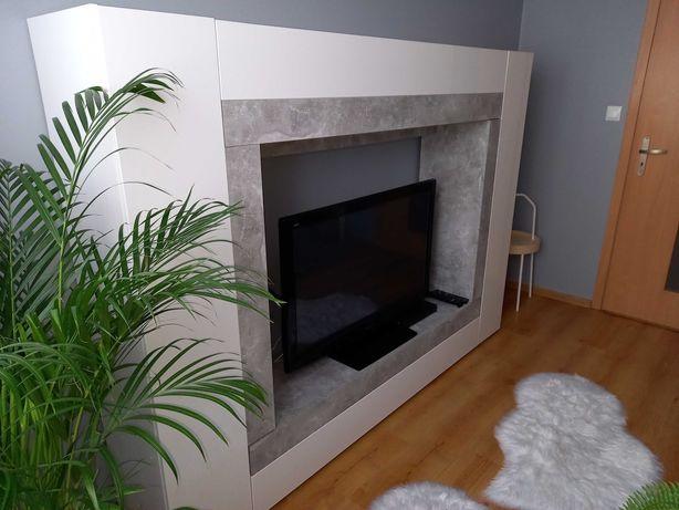 Meblościanka biała/beton kolor