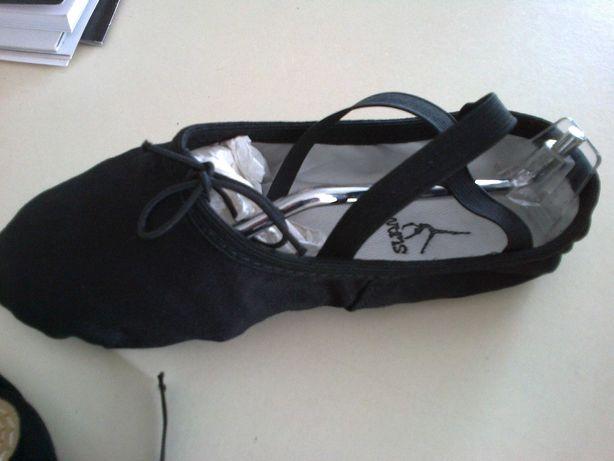 sapatilhas de ballet em pano ou pele