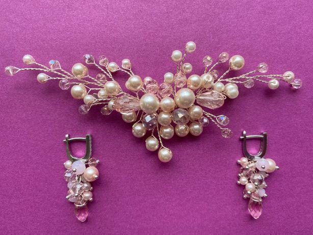 Продам свадебные украшения (сережки и украшение в волосы)