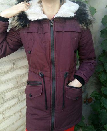 Парка зимняя куртка баклажанового цвета Kolvi