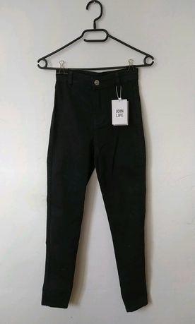 Bershka Spodnie jegging high waist   czarne z wysokim stanem