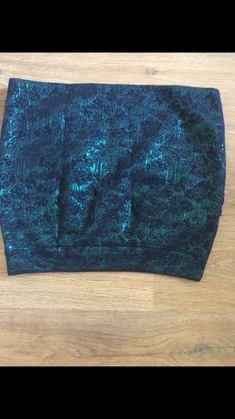 Spódnica cekiny M 38 zielona zieleń butelkowa forever21