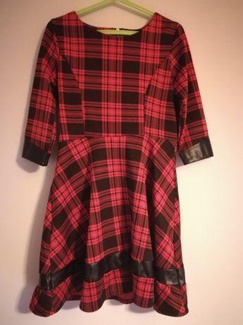 Sukienka szkocka krata ze skórzanymi wstawkami S/M (38) rozkloszowana