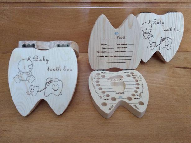 Caixa em madeira para dentes crianças
