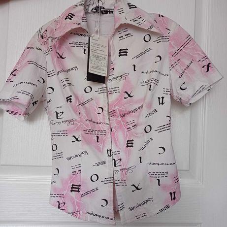 Блузка біла з рожевим,  з написами