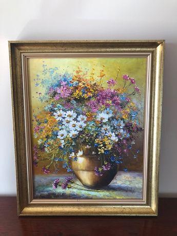 Obraz olejny martwa natura kwiaty