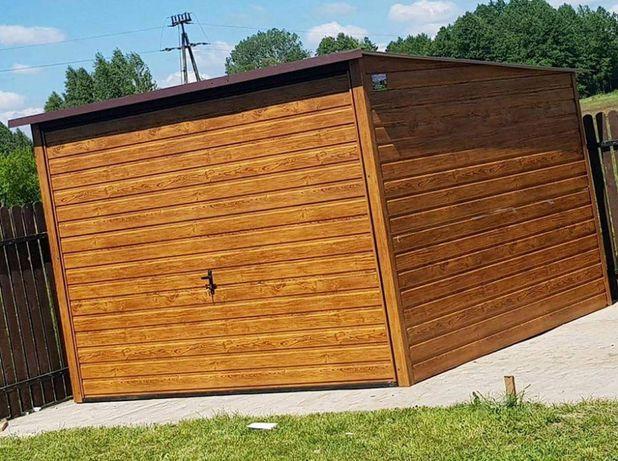Schowek ogrodowy Garaż blaszany 3x3 jasny złoty dąb brama uchylna