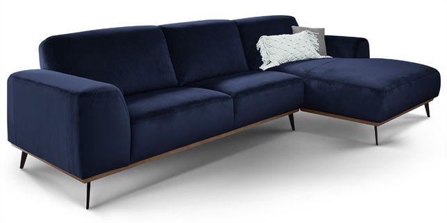 Sofa narożna VELVET niebieska narożnik niebieski aksamit model 2020