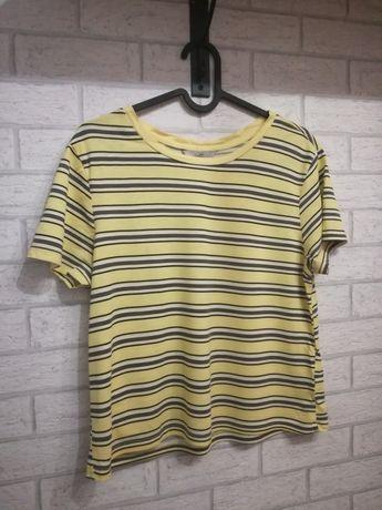 Bluzka T-shirt Tshirt Żółty Nowy C&A S M L 38 40 Brązowy Krótki