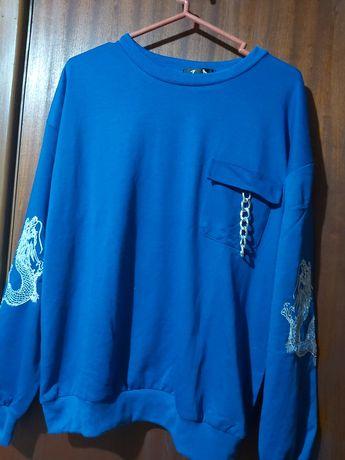 Camisola sweat azul com dragão tamanho S
