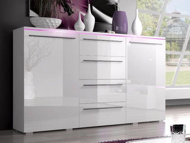 Komoda biała czarna POŁYSK nowoczesna 132 cm do salonu sypialni HIT