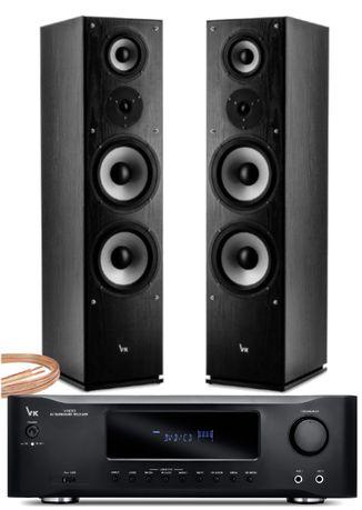 Zestaw Stereo Nagłośnienie Domowe z USB BT Radio FM