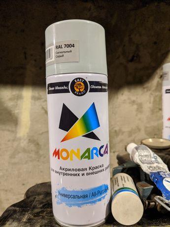 Серая аэрозольная краска Monarca 7004 (сигнальный серый) Две штуки