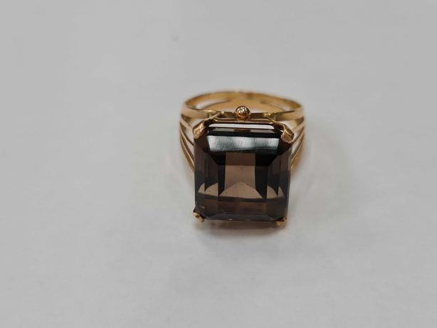 Retro! Złoty pierścionek damski/ Kwarc dymny/ 750/ 7.06 gram/ R19