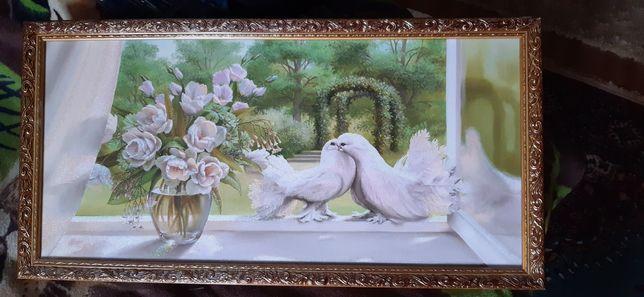 Картина в гостиную или спальню, голуби, природа