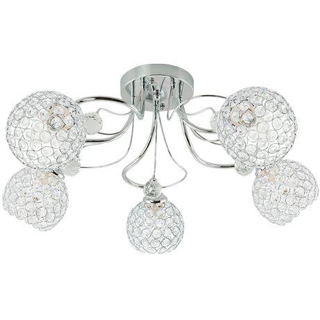 Lampa sufitowa kryształki glamour chrom