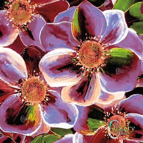 Materiał z wydrukowanym wzorem: Mnóstwo kwiatów i brąz